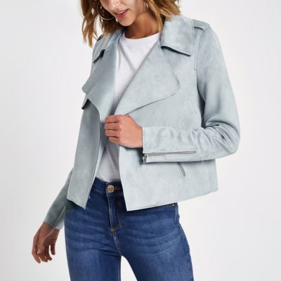 River Island Light Blue Suedette Jacket