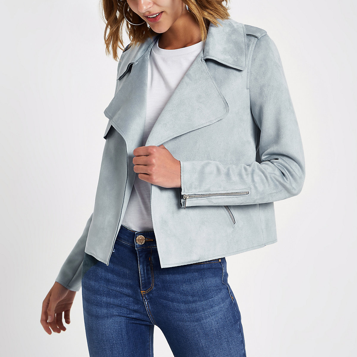 Light blue faux suede cropped trench jacket