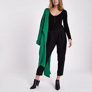 Petite black fitted long sleeve bodysuit