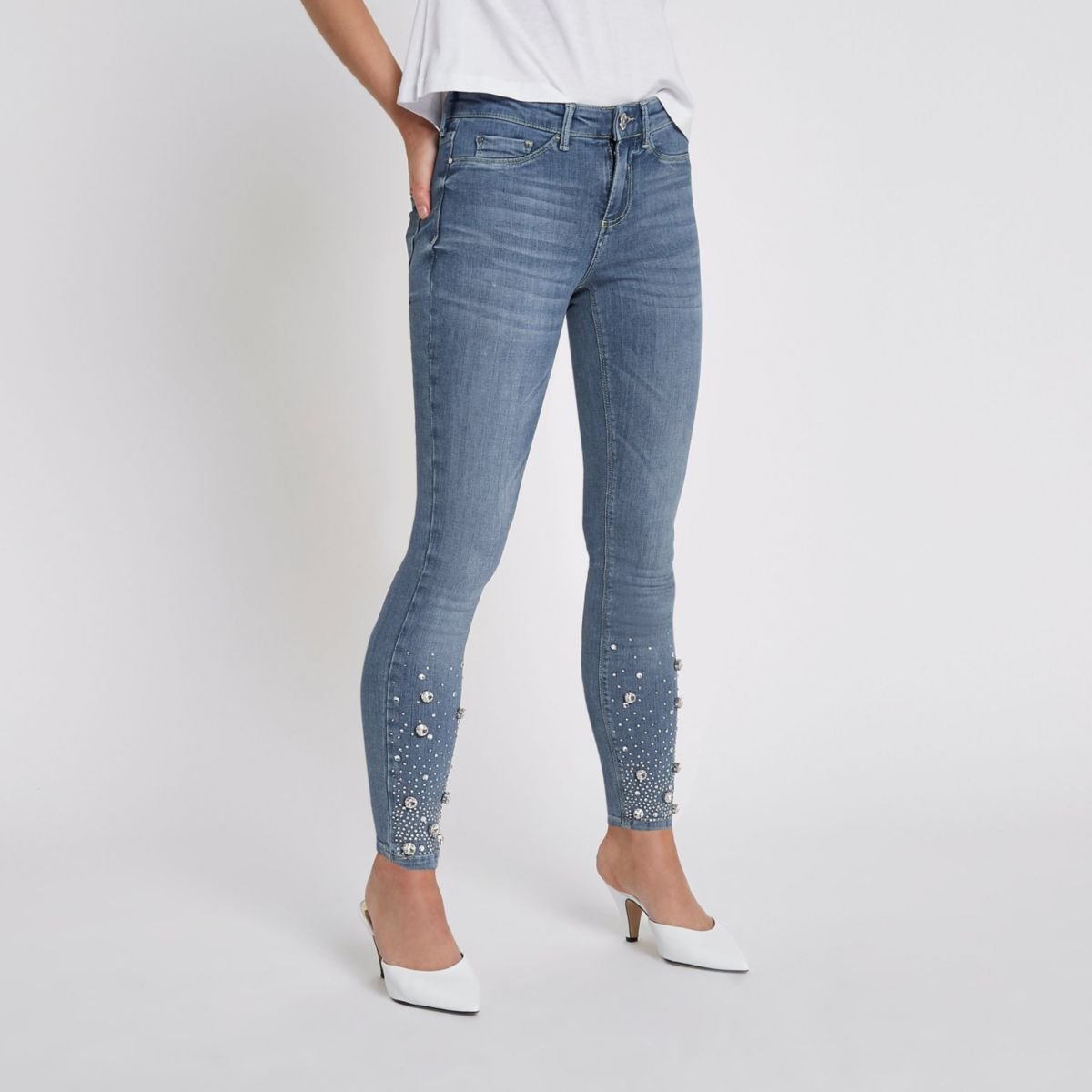 Petite light blue Molly rhinestone hem jeggings