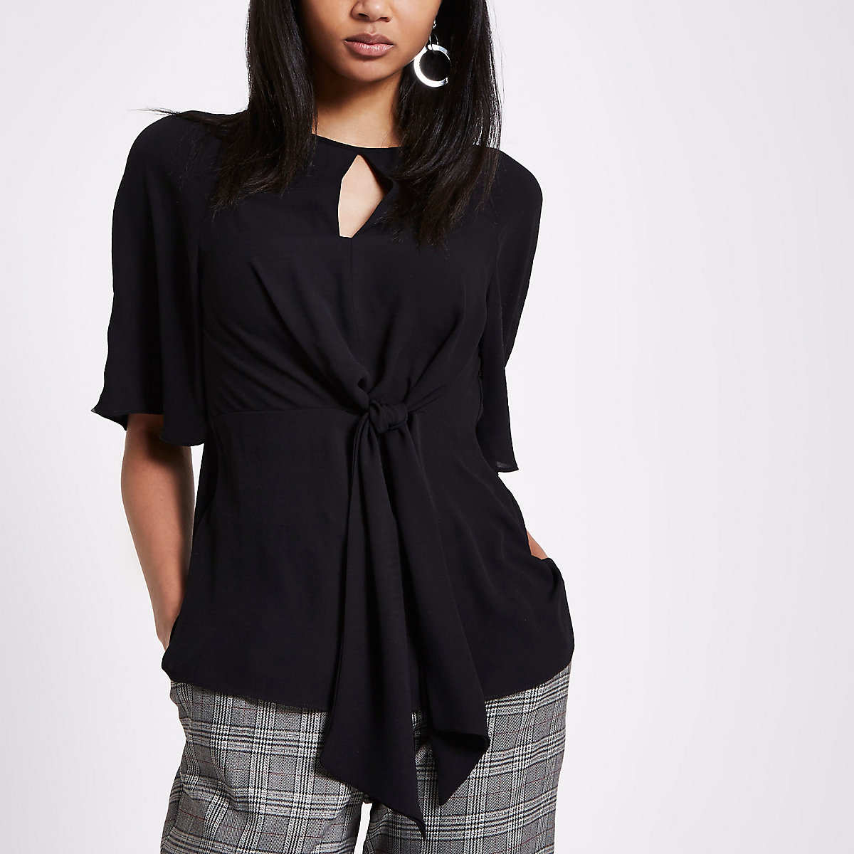 Black tie front short sleeve blouse