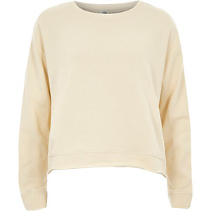 Cream frill tie back sweatshirt