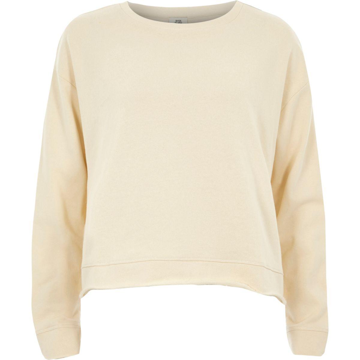 Cream frill tie back sweatshirt