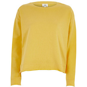Yellow open tie back sweatshirt