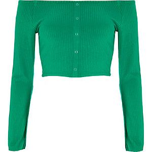 Green popper bell sleeve bardot crop top