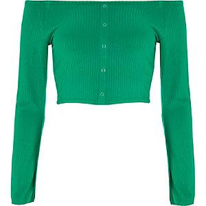 Crop top Bardot vert à boutons-pression et manches évasées