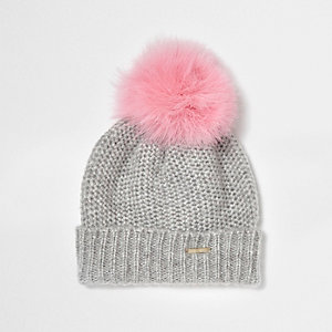 Grey feather pom pom bobble beanie hat