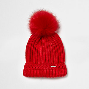 Red faux fur bobble pom pom beanie hat