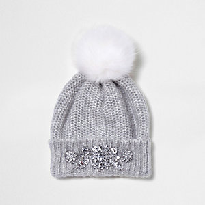 Grey jewel embellished faux fur bobble hat