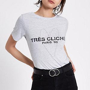 T-shirt gris chiné avec cœur en chaîne « tres cliche »