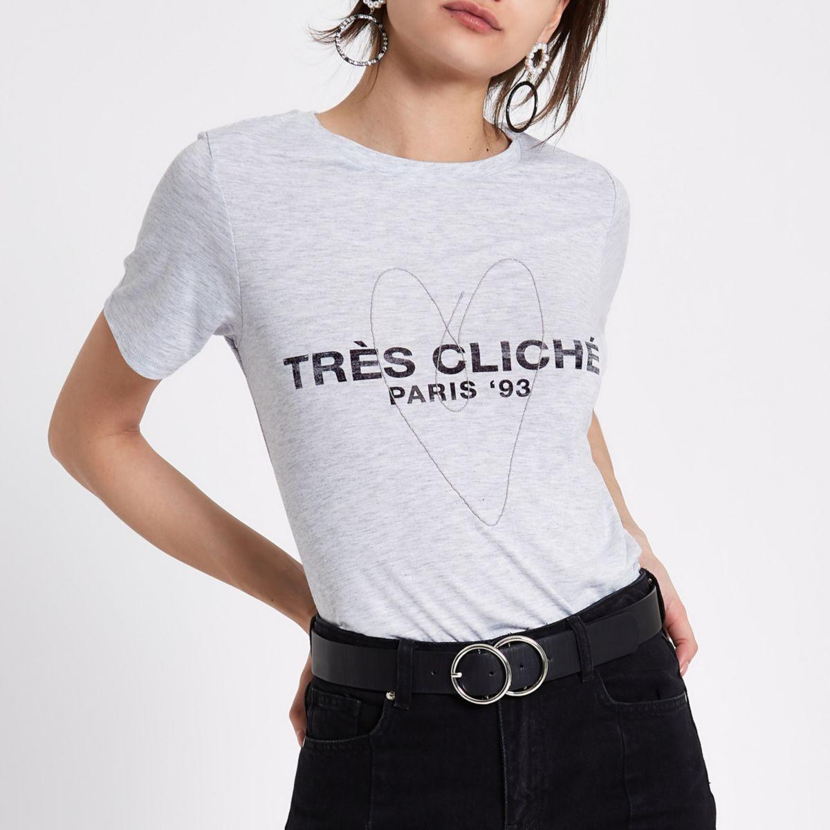 Grey marl 'tres cliche' heart chain T-shirt