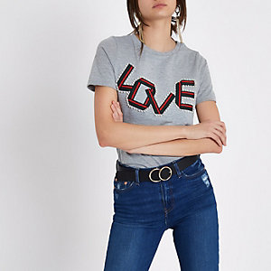 Grey marl 'love' tape embellished T-shirt