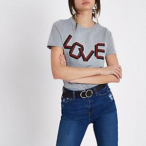 Grijs gemêleerd verfraaid T-shirt met 'love'-bandprint