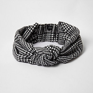 Black dogtooth check knot front headband