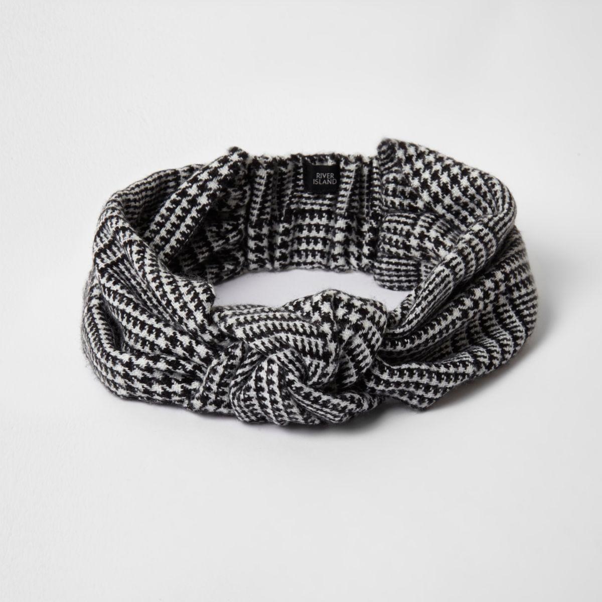 Stirnband mit Hahnentritt-Muster und Knotendesign