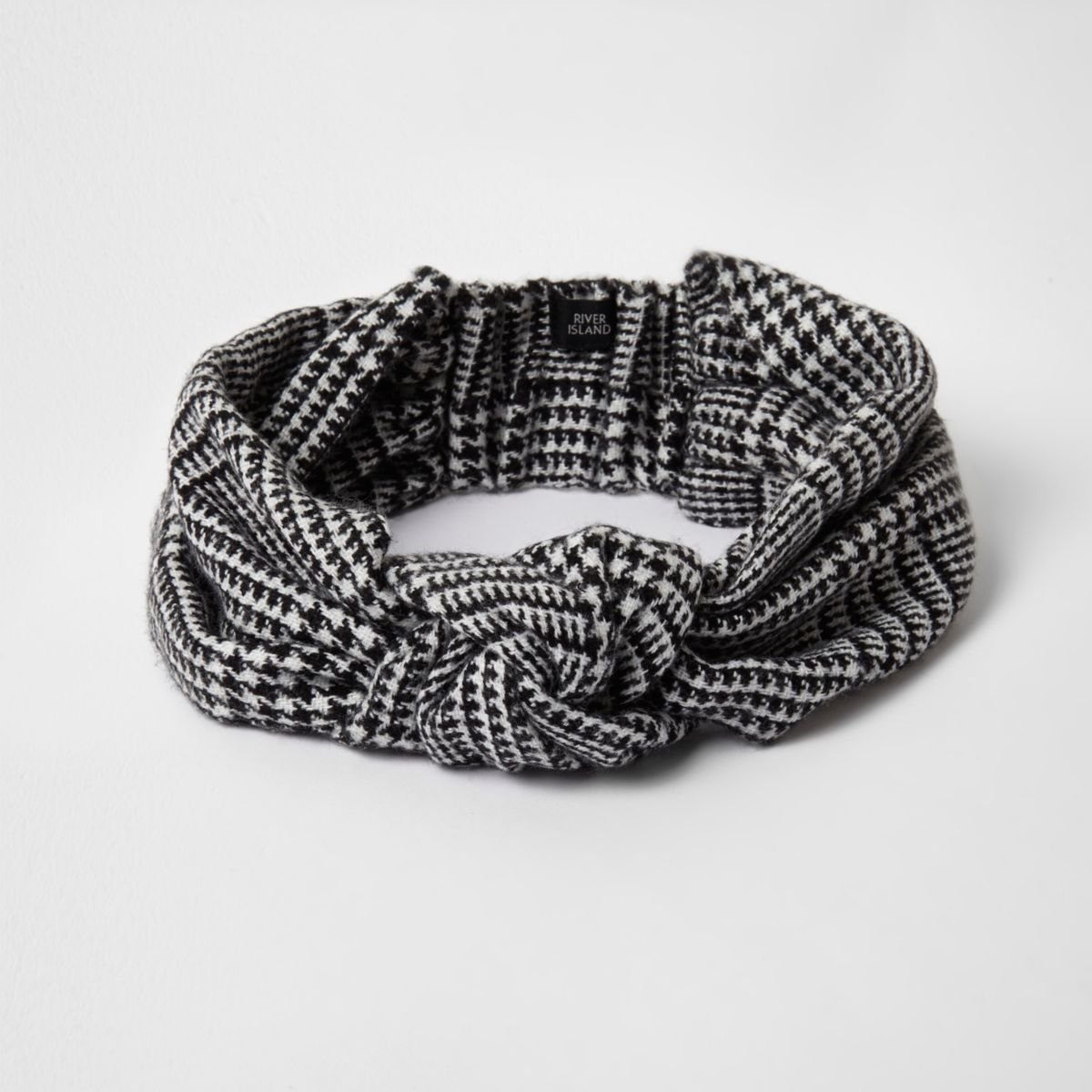 Black houndstooth check knot front headband