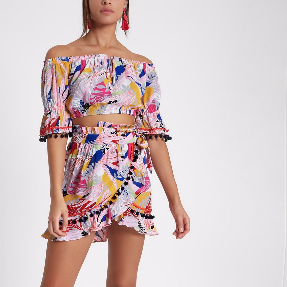 Pink tropical bardot beach co-ord crop top