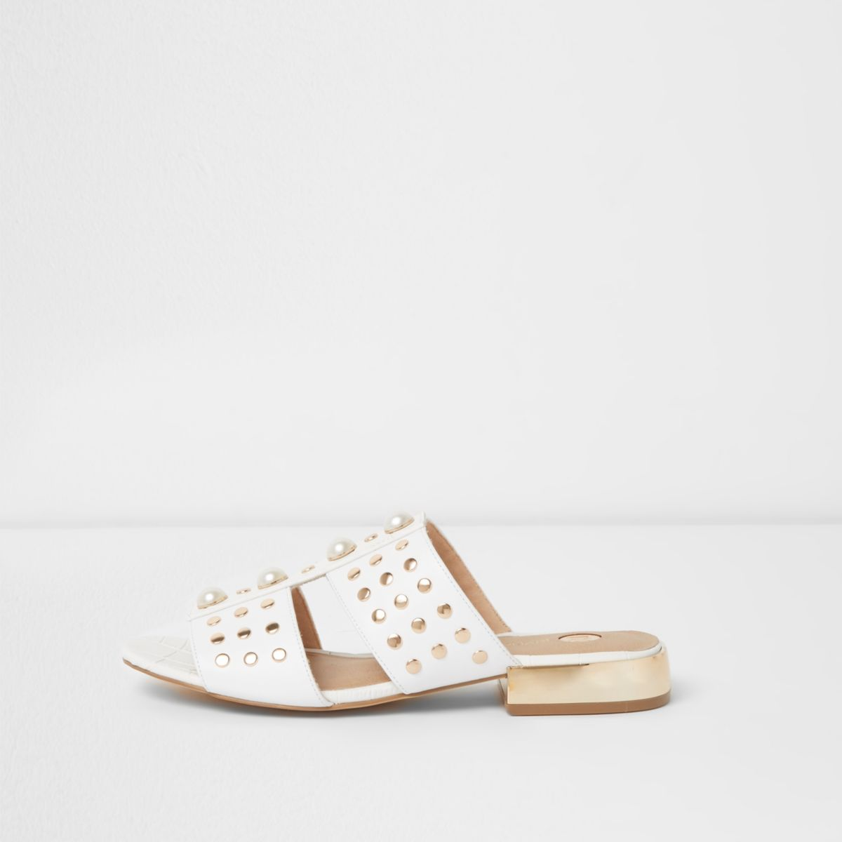White faux pearl studded mules