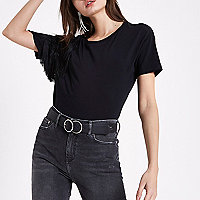 Black fringe shoulder T-shirt