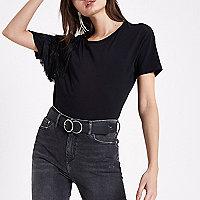 T-shirt noir à frange aux épaules