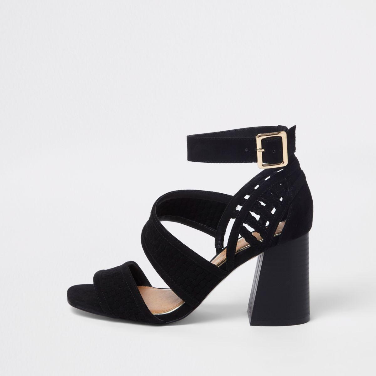 Black wide fit strappy block heel sandals