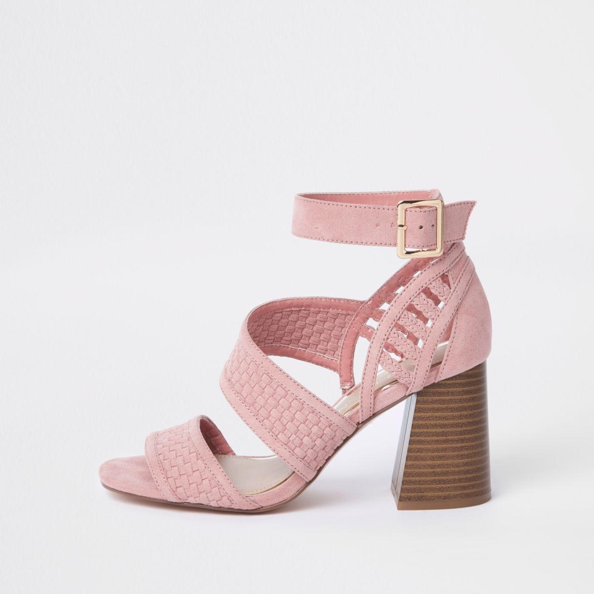 Pink wide fit strappy block heel sandals