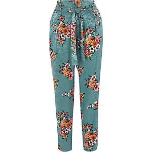 Pantalon fuselé à jacquard imprimé fleuri bleu canard