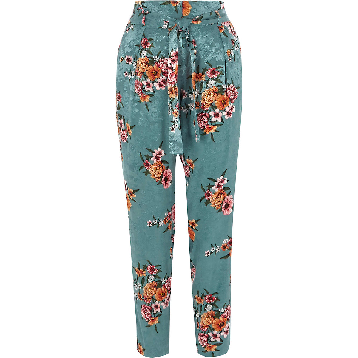 Teal blue floral jacquard tapered pants