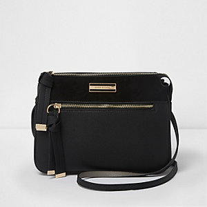 Black zip front triple compartment cross body