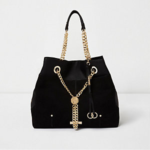 Black chain RI lock winged tote bag