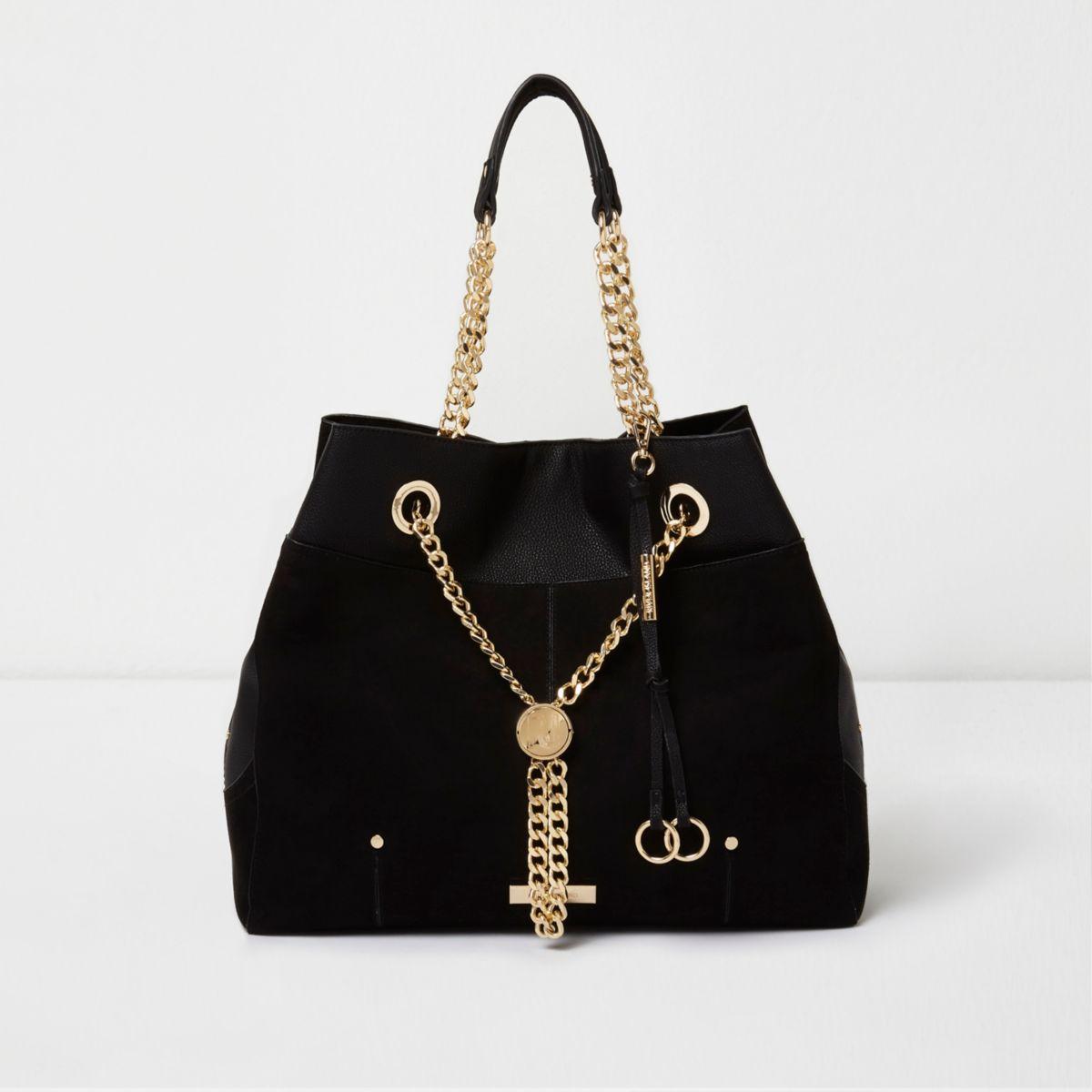 Zwarte handtas met RI-slot en ketting