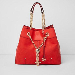 Red chain RI lock winged tote bag