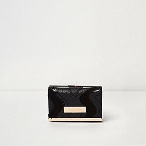Schwarze Mini-Geldbörse mit Clipverschluss