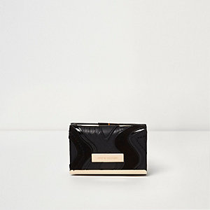 Black cutabout panel clip top mini purse
