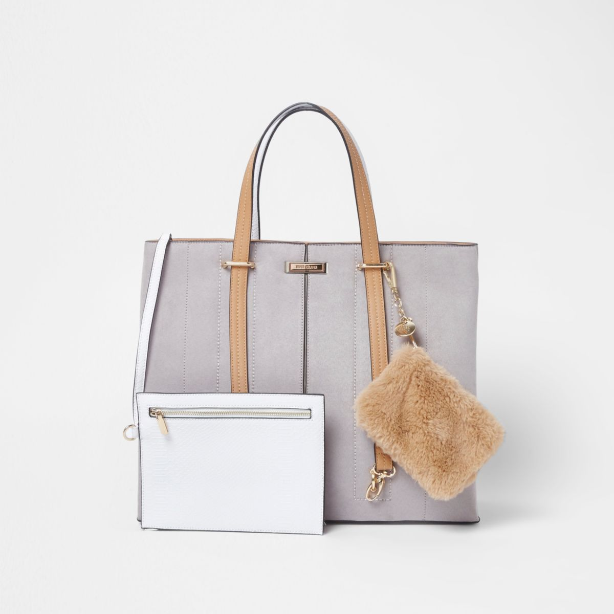 Light grey long handle pouch tote bag