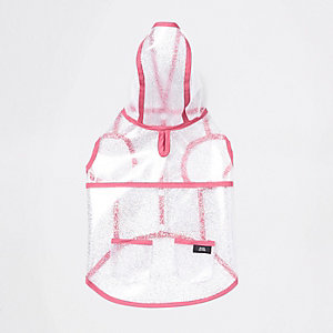 RI Dog clear pink trim glitter raincoat