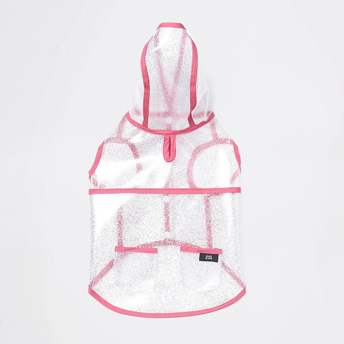 RI Dog clear pink trim glitter raincoat