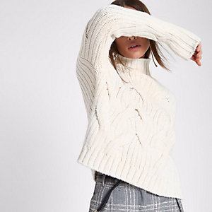 Cream high neck chunky cable knit sweater