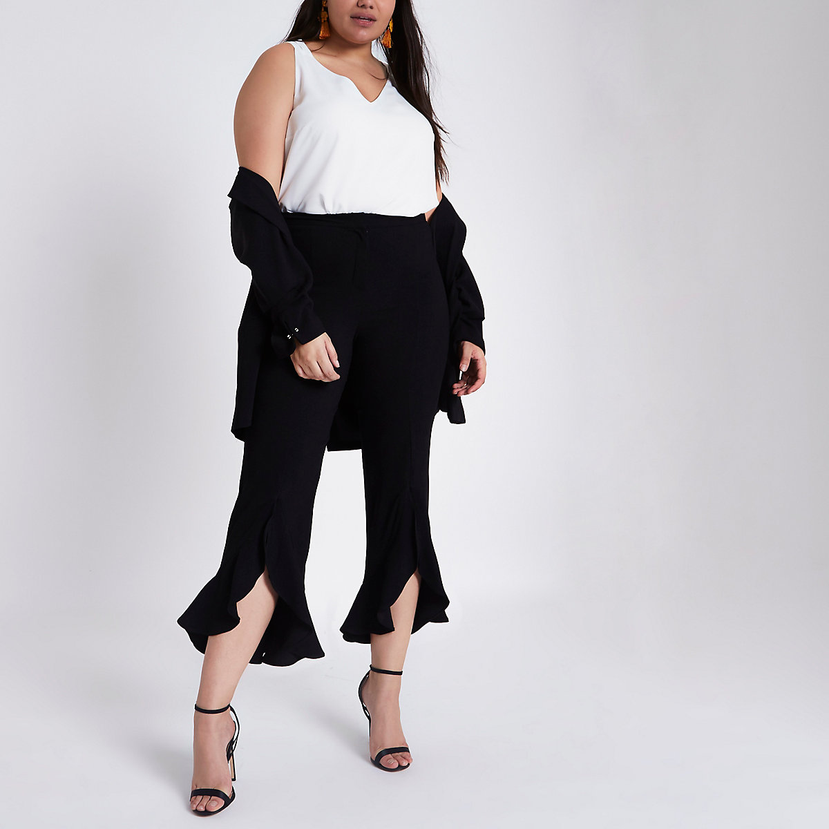 Plus black flare frill hem tailored trousers