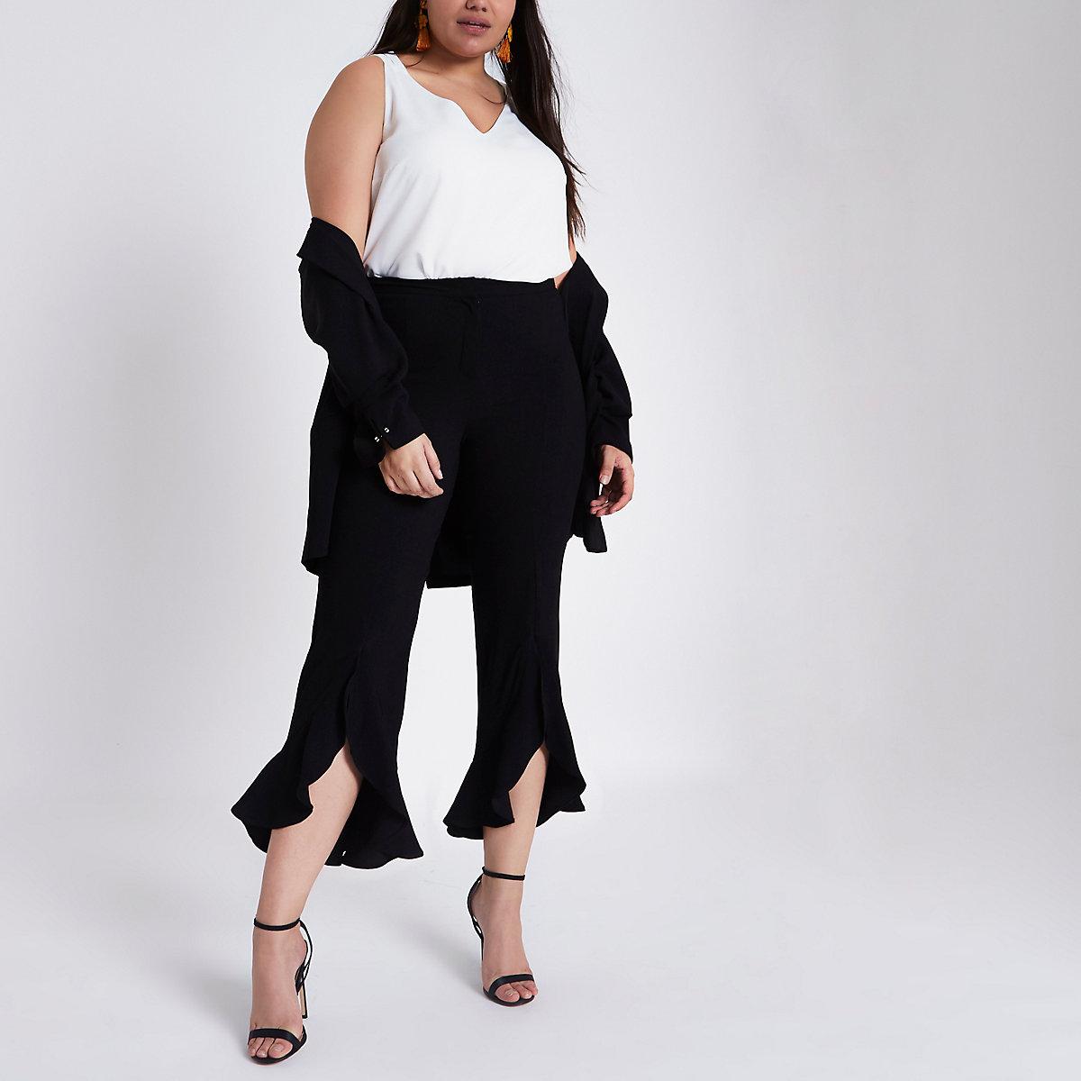 Plus black flare frill hem tailored pants