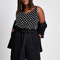 Plus black polka dot double strap vest