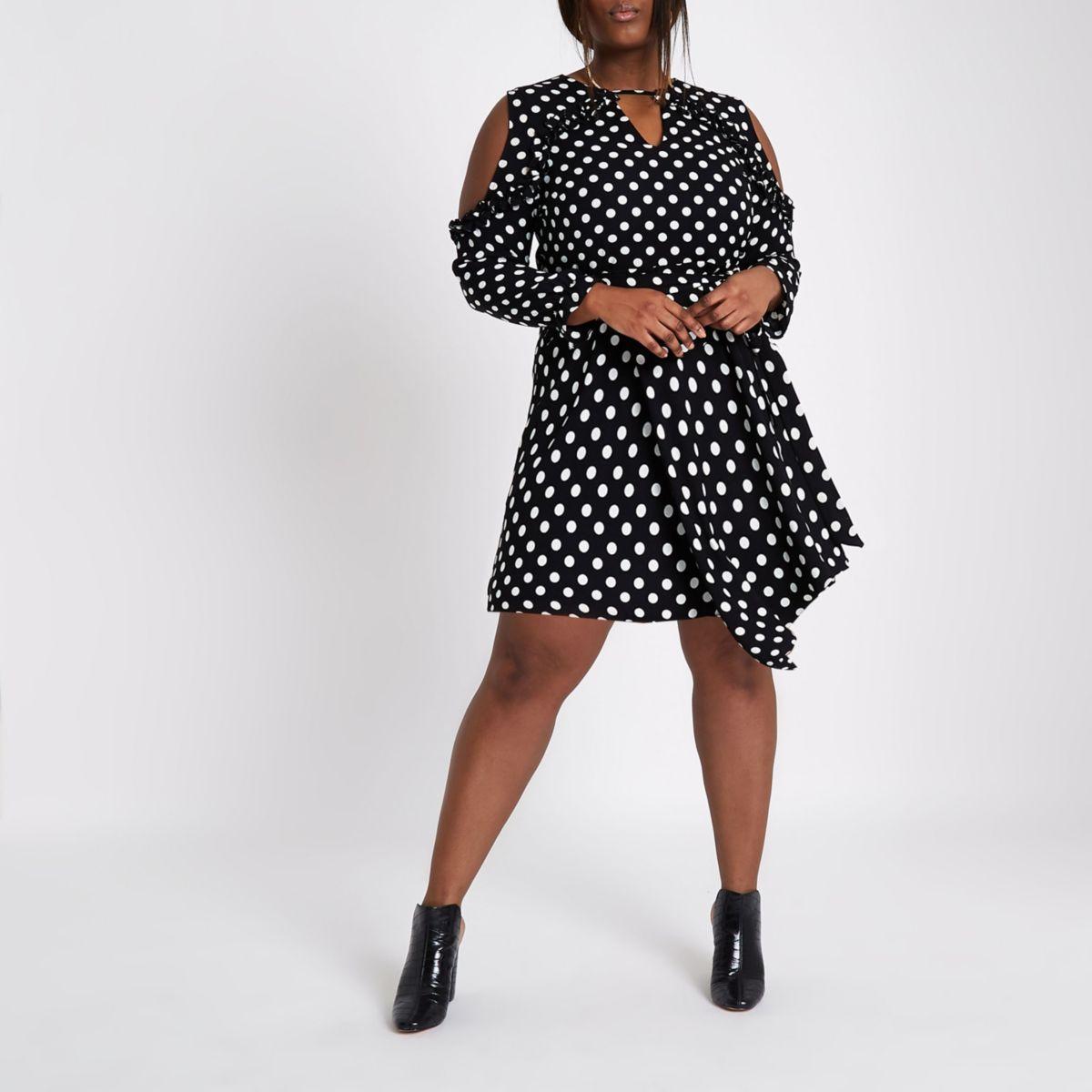 Plus black polka dot cold shoulder tea dress