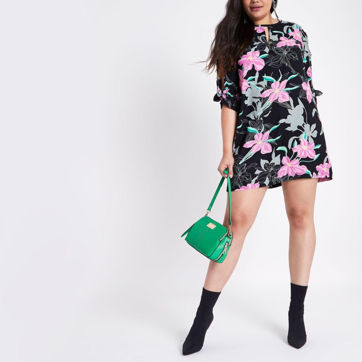 Plus black floral bow sleeve shift dress