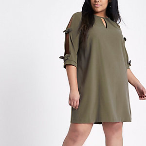 Plus khaki green bow sleeve shift dress