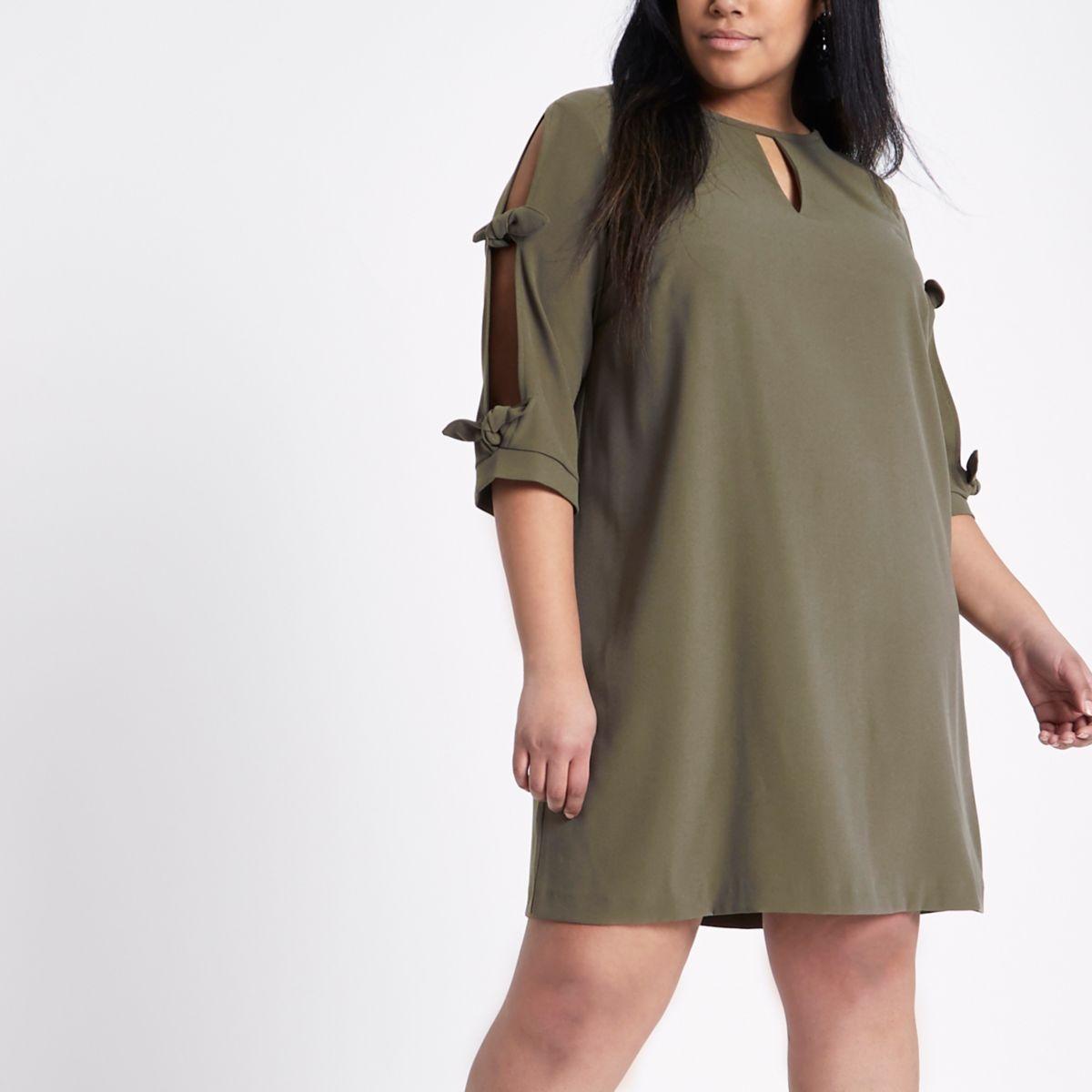 Plus khaki green bow sleeve shift dress