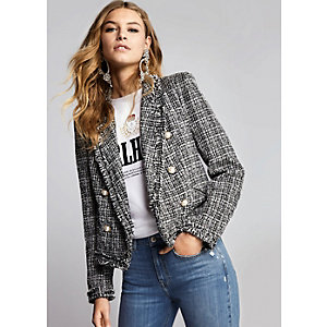Black pearl double breasted boucle jacket