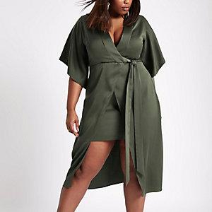 Plus khaki wrap front kimono midi dress