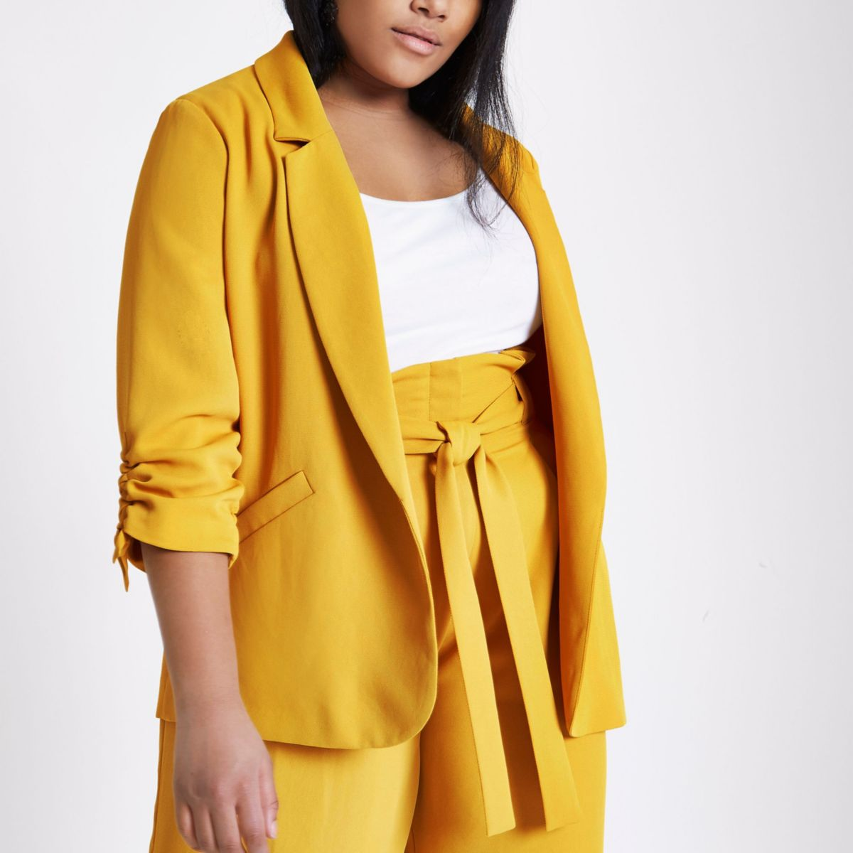 Plus mustard yellow ruched sleeve blazer