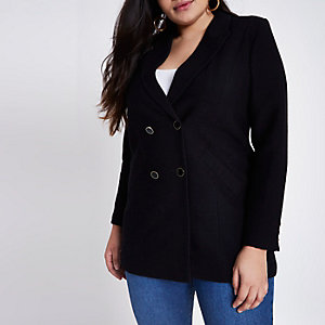 RI Plus - Zwarte lange double-breasted blazer