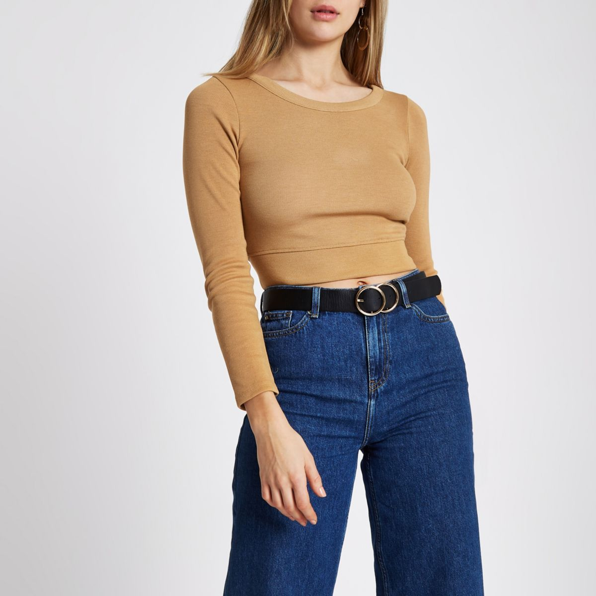 Tan long sleeve crop top